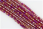 5x8mm Faceted Crystal Designer Glass Rondelle Beads - Ruby AB