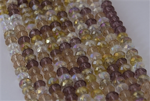 5x8mm Faceted Crystal Designer Glass Rondelle Beads - Smoke in Eyes Mix