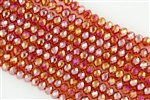 5x8mm Faceted Crystal Designer Glass Rondelle Beads - Tangerine Orange AB