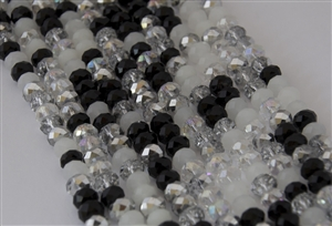 5x8mm Faceted Crystal Designer Glass Rondelle Beads - Winter Solstice Mix