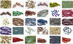 "DELUXE - 25 Strands/Bags ""Grab Bag Lot"" of Pressed Czech Glass Beads"