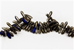 3x10mm Czech Dagger Glass Beads - Crystal Etched Full Azuro