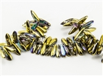 3x10mm Czech Dagger Glass Beads - Crystal Golden Rainbow