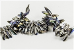 3x10mm Czech Dagger Glass Beads - Crystal Graphite Rainbow