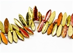 5x15mm Czech Dagger Pressed Glass Beads - Etched Crystal California Gold Rush