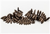 5x15mm Czech Dagger Pressed Glass Beads - Etched Jet Black Bronze Metallic