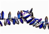 5x15mm 2-Hole Czech Dagger Pressed Glass Beads - Crystal Azuro