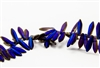 5x15mm 2-Hole Czech Dagger Pressed Glass Beads - Crystal Azuro Matte