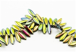 5x15mm 2-Hole Czech Dagger Pressed Glass Beads - Crystal Full Vitrail