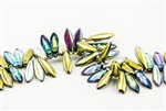 5x15mm 2-Hole Czech Dagger Pressed Glass Beads - Crystal Golden Rainbow