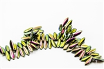 5x15mm 2-Hole Czech Dagger Pressed Glass Beads - Jet Full Vitrail