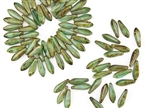 5x15mm Czech Dagger Pressed Glass Beads - Milky Green Turquoise Picasso