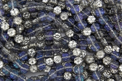 7x4mm Flower Czech Glass Beads - Silver Blue Crystal