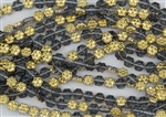 8x4mm Flower Czech Glass Beads - Montana Blue Gold 1/2 Coat