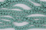 8x4mm Flower Czech Glass Beads - Opaque Turquoise