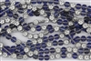 8x4mm Flower Czech Glass Beads - Silver Blue Crystal