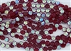 8x4mm Flower Czech Glass Beads - Siam Ruby AB