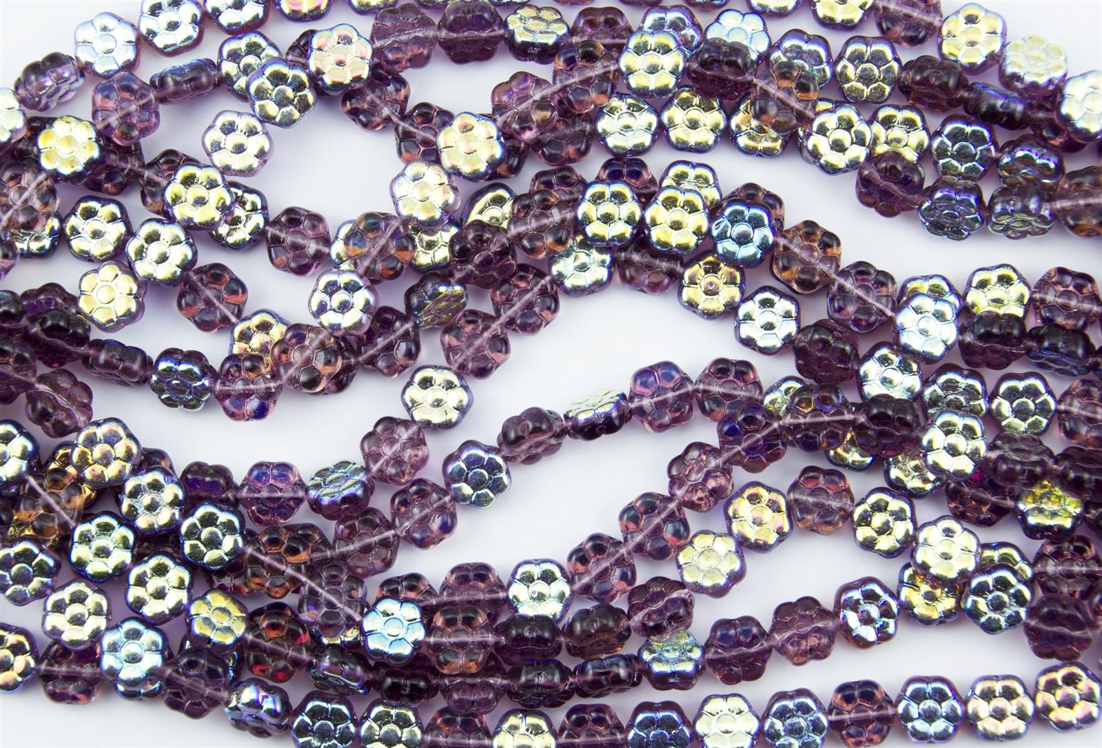 5 Violet Opal Czech Glass Dahlia Flower Coin Beads 14mm