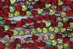 9mm Flat Pansy Flower Czech Glass Beads - Light Siam Ruby Vitral