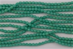 3mm Firepolish Czech Glass Beads - Turquoise Opaque