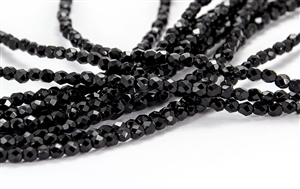 3mm Firepolish Czech Glass Beads - Opaque Jet Black