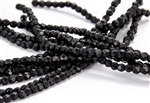 3mm Firepolish Czech Glass Beads - Opaque Jet Black Matte