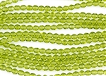 6mm Firepolish Czech Glass Beads - Olivine Transparent