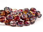 12x9mm Faceted Round Table Cut Czech Glass Beads - Cranberry Citrus Picasso