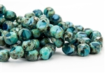 12x9mm Faceted Round Table Cut Czech Glass Beads - Turquoise and Capri Blue Picasso