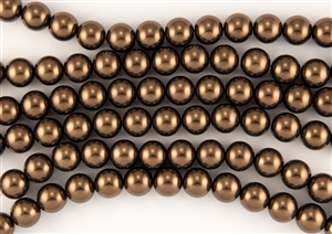 3mm Glass Round Pearl Beads - Bronze