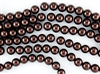 3mm Glass Round Pearl Beads - Brown