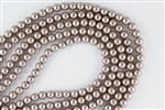 3mm Glass Round Pearl Beads - Cocoa