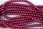 3mm Glass Round Pearl Beads - Raspberry