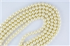 3mm Glass Round Pearl Beads - Vanilla