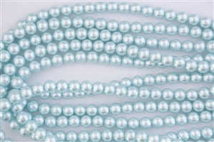 4mm Glass Round Pearl Beads - Baby Blue
