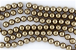 4mm Glass Round Pearl Beads - Copper