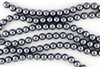 4mm Glass Round Pearl Beads - Dark Grey