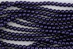 4mm Glass Round Pearl Beads - Dark Purple