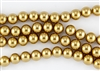 4mm Glass Round Pearl Beads - Golden