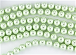 4mm Glass Round Pearl Beads - Mint