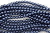 4mm Glass Round Pearl Beads - Navy Blue