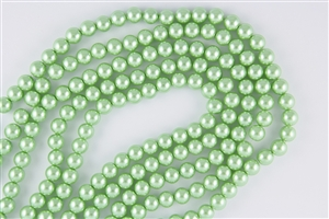 4mm Glass Round Pearl Beads - Vivid Green