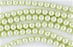 6mm Glass Round Pearl Beads - Baby Lime