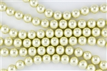 6mm Glass Round Pearl Beads - Butter