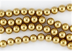 6mm Glass Round Pearl Beads - Golden