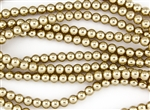 6mm Glass Round Pearl Beads - Pale Bronze