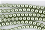 6mm Glass Round Pearl Beads - Sage