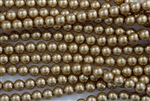 8mm Glass Round Pearl Beads - Khaki