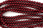 8mm Glass Round Pearl Beads - Red
