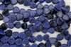 15mm Window Heart Pressed Czech Glass Beads - Pearlescent Navy Blue Black